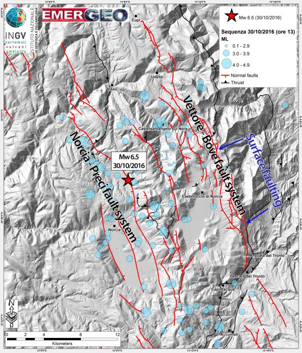 Rappresentazione semplificata della struttura geologica con le faglie - INGV - In questa mappa vengono rappresentati gli epicentri dei terremoti del 30 ottobre 2016 (sismicità aggiornata alle ore 13.00). La scossa di magnitudo 6.5 del 30 ottobre alle 07:40 è indicata con una stella rossa. Gli epicentri occupano un'area estesa circa 30 km in direzione NO-SE e circa 18 km in direzione NE-SO. Vengono inoltre indicate le prime segnalazioni di fagliazione superficiale (area evidenziata in blu).