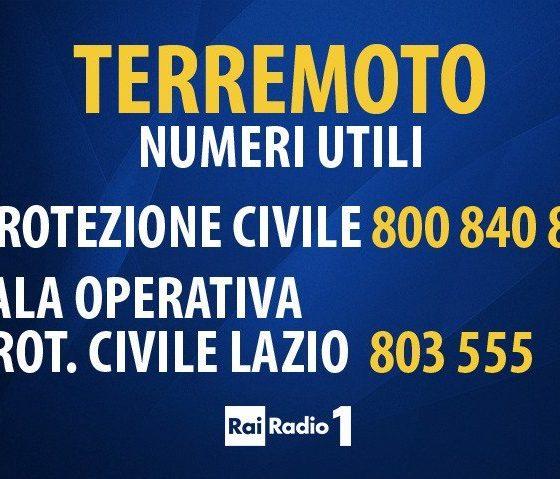 RAI RADIO1 - numeri utili per il terremoto ottobre UMBRIA - MARCHE 2016