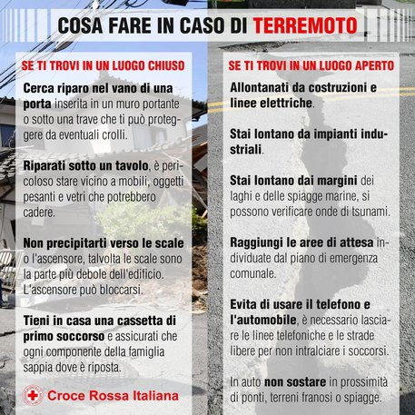 Cosa fare in caso di terremoto: consigli e suggerimenti a cura della Croce Rossa