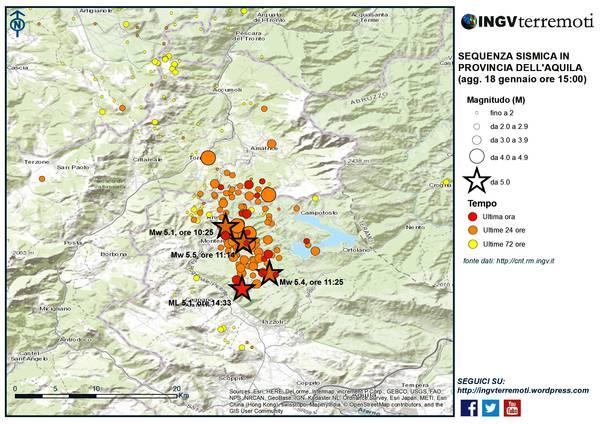 INGV, eventi sismici del 18 gennaio 2017 nel Centro Italia di cui 4 di magnitudo > 5.0