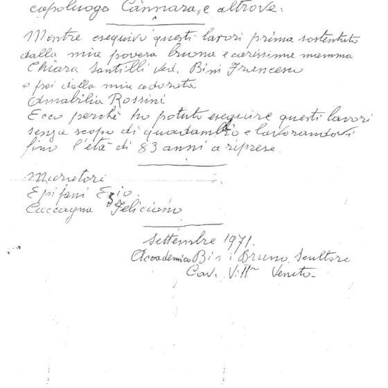 Bruno BINI, un manoscritto (pag. 1) [su gentile concessione dell'autore dell'articolo Mario SCALONI]