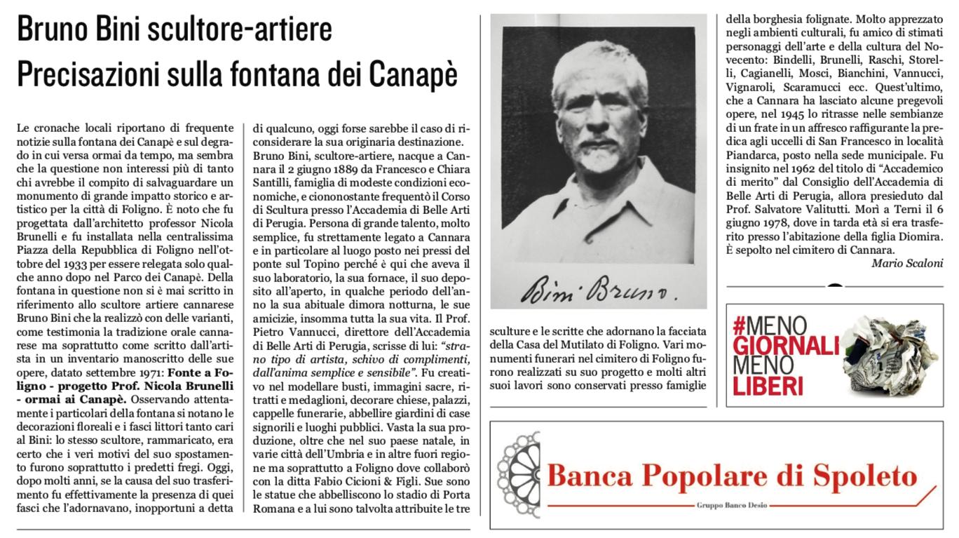 Bruno Bini, dalla 'Gazzetta di Foligno' n. 32 del 22 settembre 2019, pagina 9 [autorizzati alla pubblicazione dall'autore Mario Scaloni]