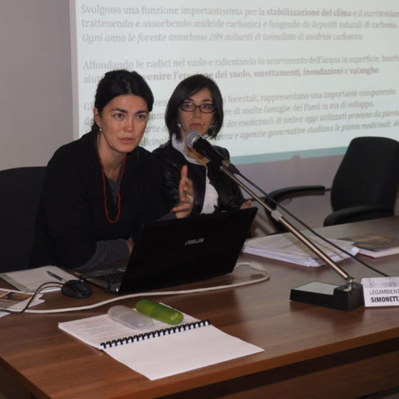 Presentazione di 'Patriarchi verdi. Itinerari in Valle Umbra' – palazzo Mauri, Spoleto, 12 marzo 2016 – le relatrici Federica Barbera (a sinistra) ed Elena Giovagnotti