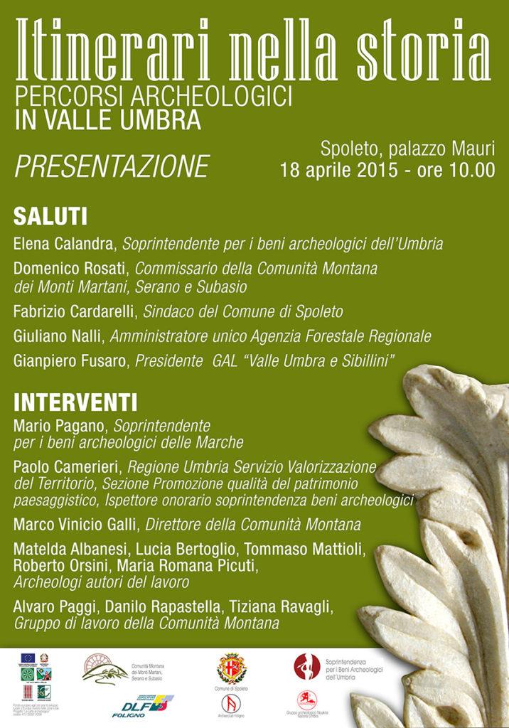 Itinerari nella storia. Il manifesto della presentazione del 18 aprile 2015 a Spoleto, biblioteca comunale di palazzo Mauri