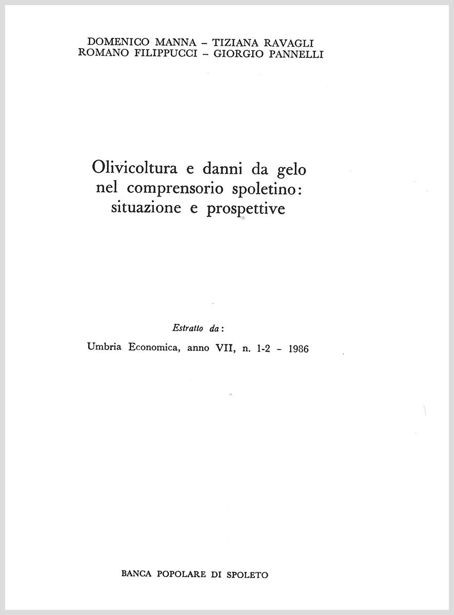 Olivicoltura e danni da gelo nel comprensorio spoletino: situazione e prospettive (copertina, 1986)