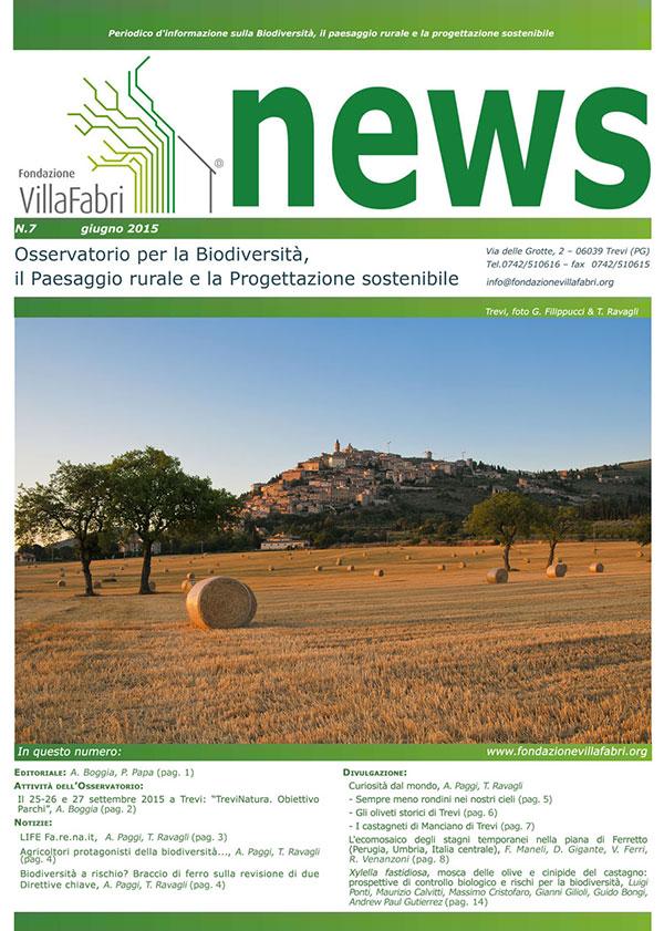 NEWS, NEWSLETTER OSSERVATORIO PER LA BIODIVERSITÀ IL PAESAGGIO RURALE E LA PROGETTAZIONE SOSTENIBILE n. 7/2015