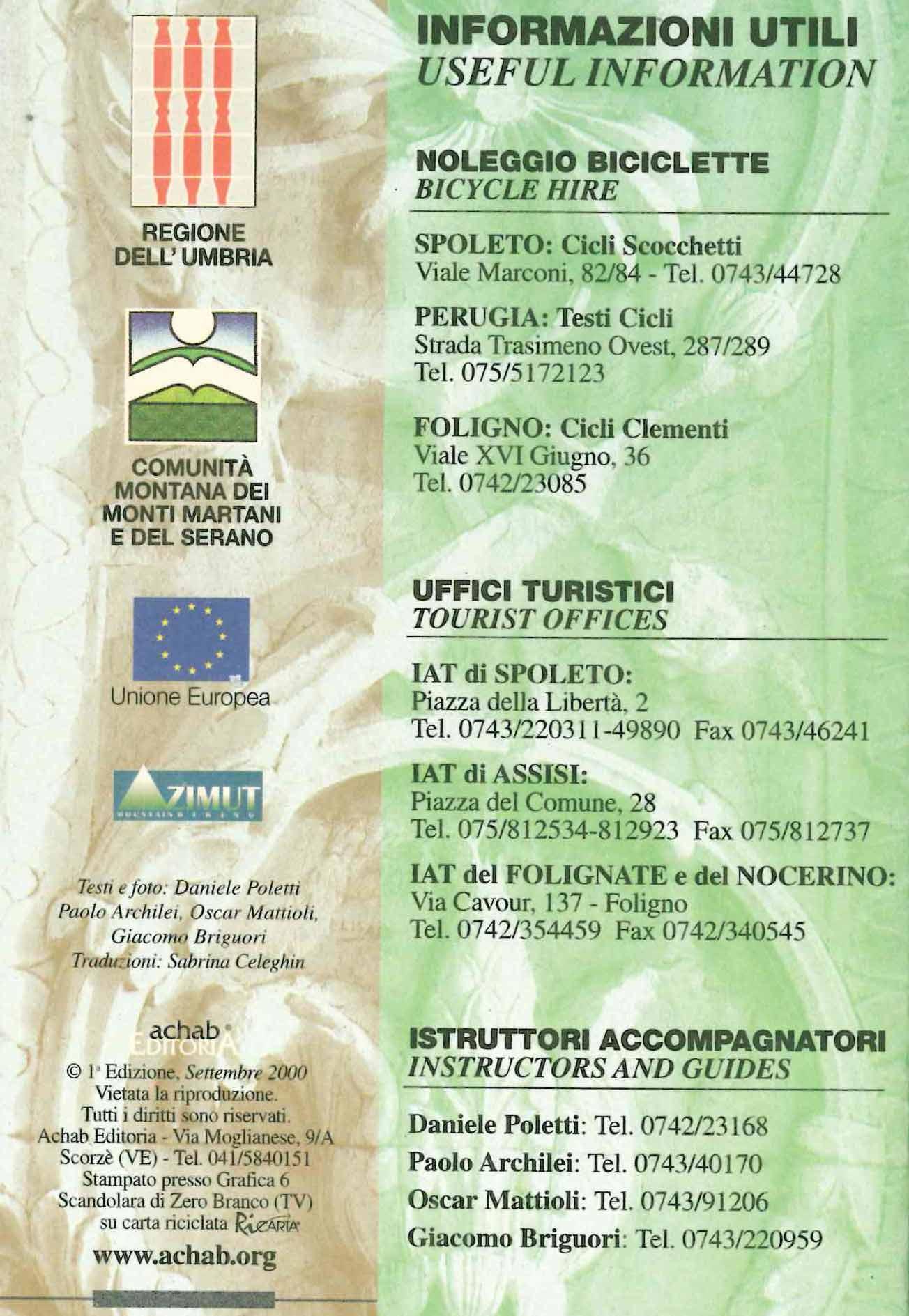 In MTB nel cuore verde dell'Umbria (copertina, retro)