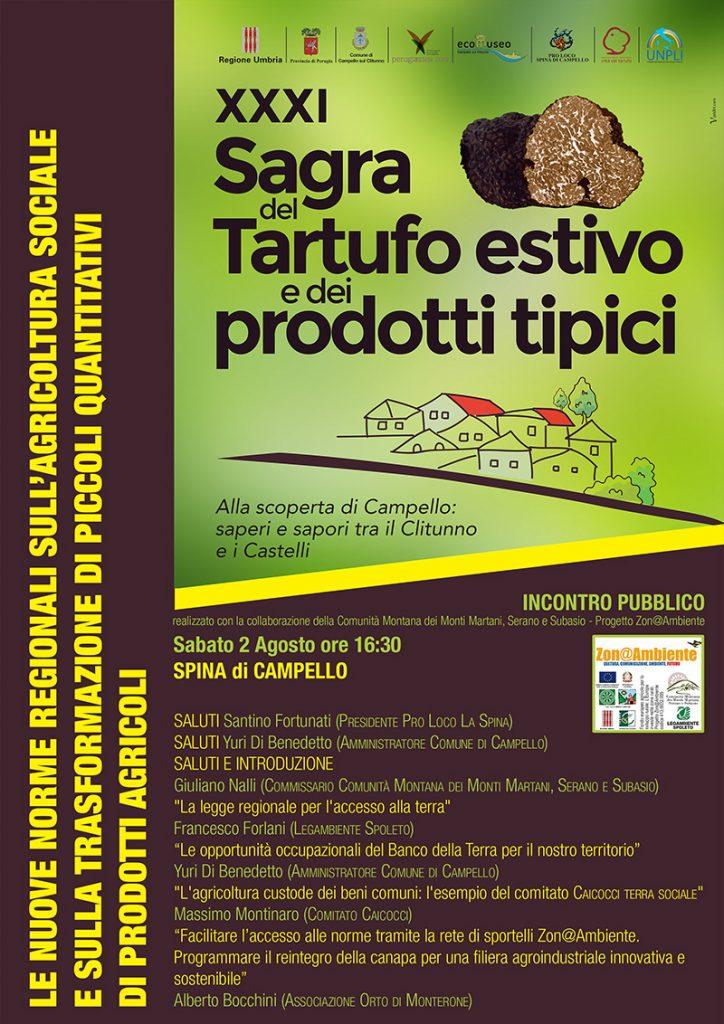 """Volantino """"Le nuove norme regionali sull'agricoltura sociale"""" - Spina di Campello, 2 agosto 2014"""