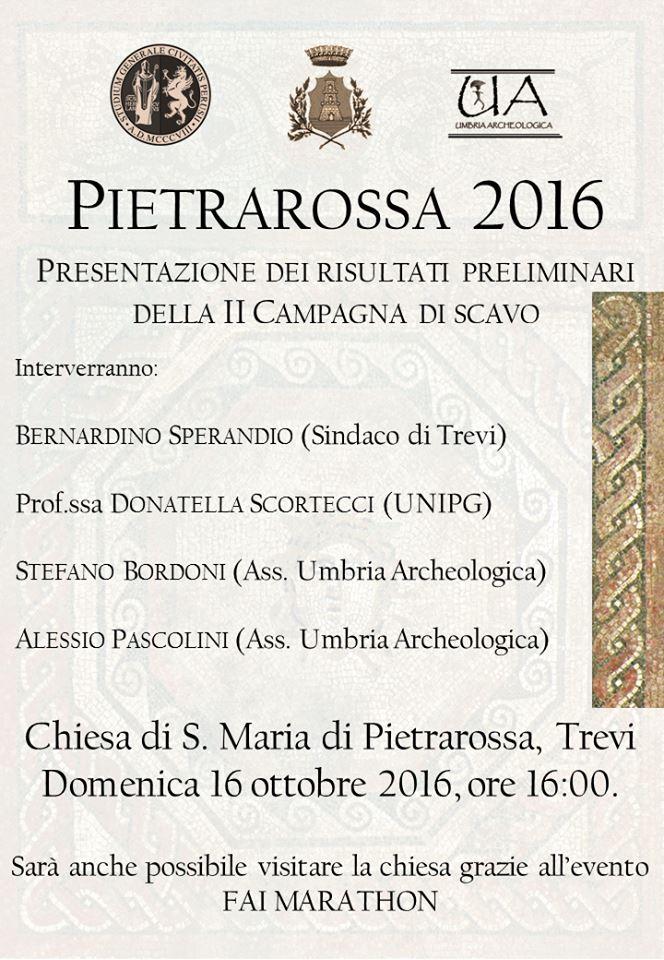 Pietrarossa, presentazione scavi 2016