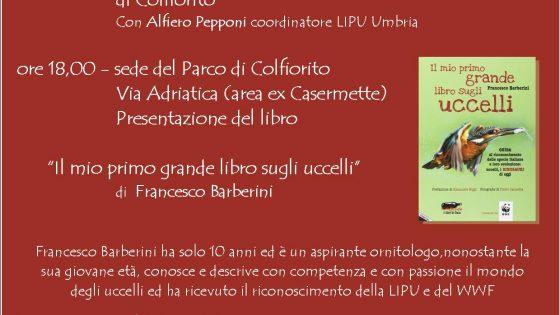 Locandina presentazione libro, Parco di Colfiorito 26 agosto 2017, iniziativa Il Piccolo Ornitologo