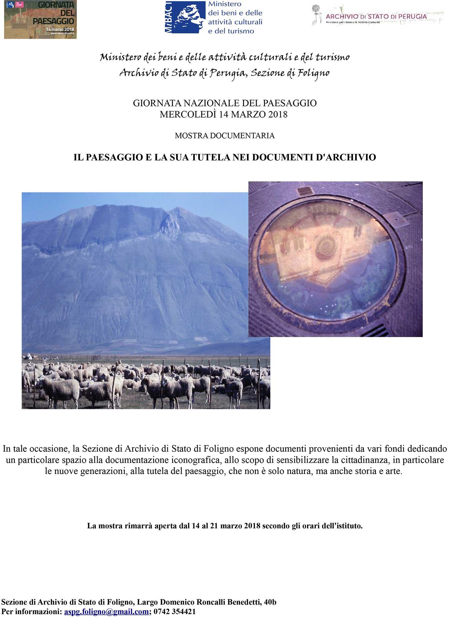 Giornata nazionale del Paesaggio 2018, gli eventi dell'Archivio di Stato di Foligno - locandina