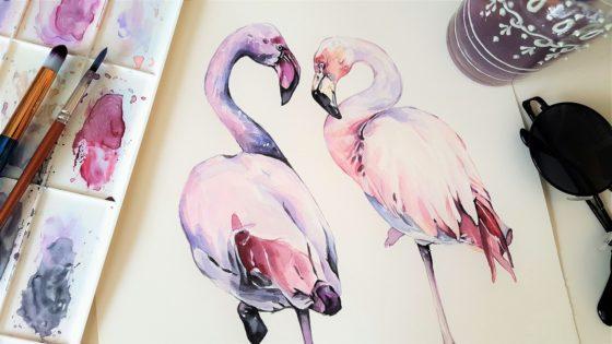 Fenicotteri rosa tra arte e natura [disegno di Marty-arts, via pixabay, download gratuito, CC0 Creative Commons, Libera per usi commerciali, Attribuzione non richiesta]